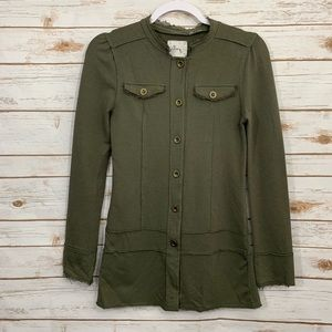 Linq Olive Button Down long Sleeve Cardigan Jacket